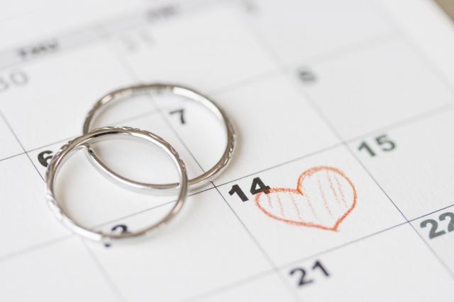 二人の結婚記念日に印をつけたカレンダー