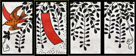 4月札、左から「藤に不如帰」「藤に短冊」「藤のカス」×2