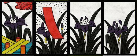 5月札、左から「菖蒲に八橋」「菖蒲に短冊」「菖蒲のカス」×2