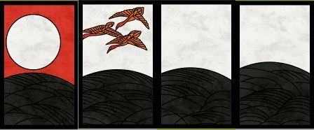 8月札、左から「芒に月」「芒に雁」「芒のカス」×2