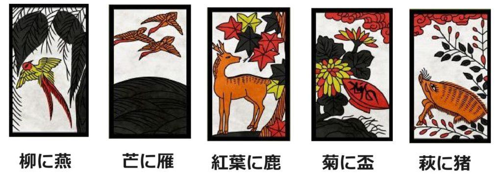種札「柳に燕」「芒に雁」「紅葉に鹿」「菊に盃」「萩に猪」