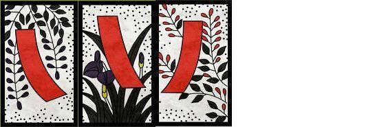 くさ/「藤に短冊」「菖蒲に短冊」「萩に短冊」の3枚
