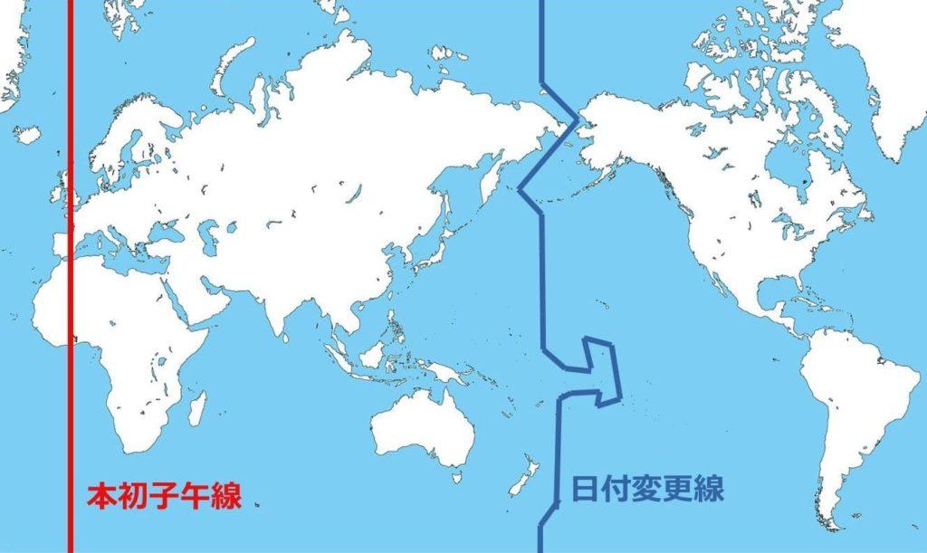 白地図上の本初子午線と日付変更線