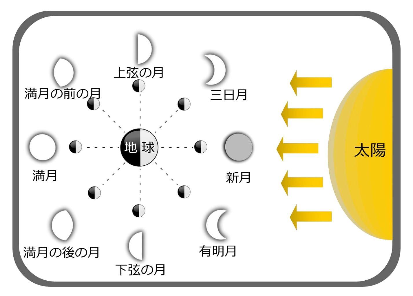 月の満ち欠け解説図