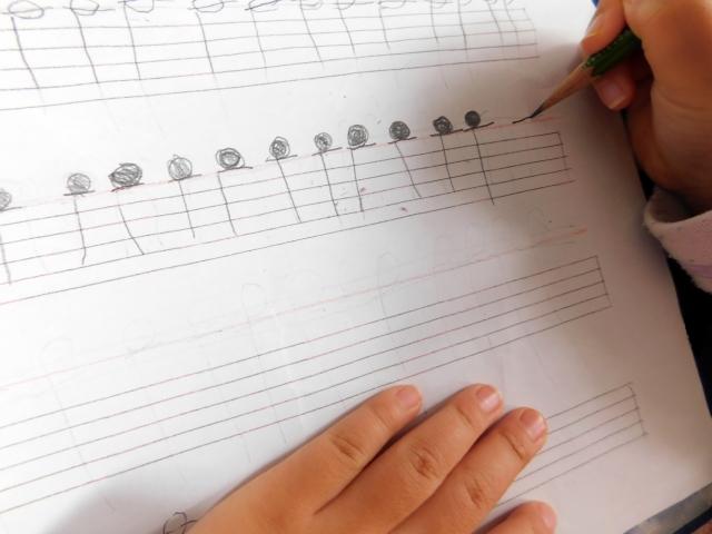 五線譜に書いた音符