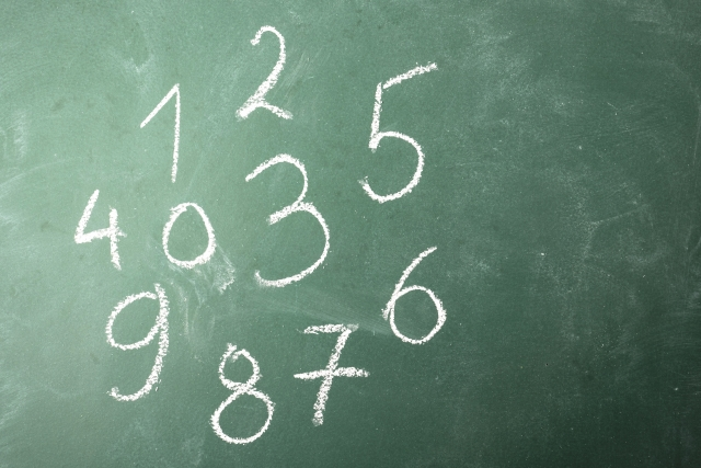 黒板にチョークで書かれた数字