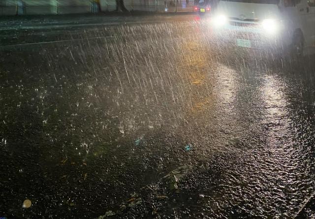 豪雨の道路