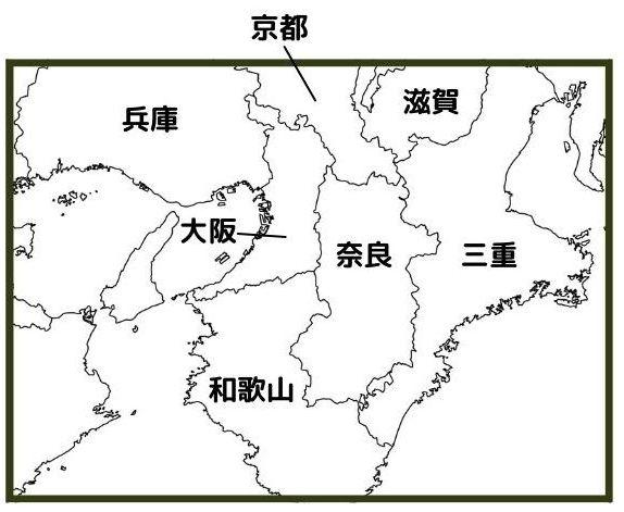 近畿地方の日本地図(現在)