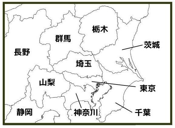 関東地方の日本地図(現在)